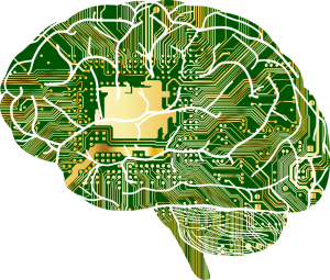 Brain with microchip in the middle connecting circuits throughout the brain.