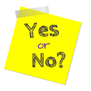 """Yellow square note with """"yes or no?""""written in the middle of it."""
