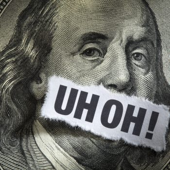 Uh Oh on a dollar bill, Mistakes can cost business money