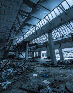 business destroyed inside after a disaster