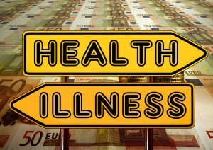 """A sign with """"health"""" on it point to the right with another sign below it saying """"illness"""" pointing to the other."""