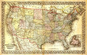 brown old map of america like a document