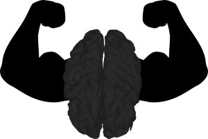 All black picture of a brain with strong arms on both sides of it.