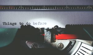 typewriter making a to do list for international expansion