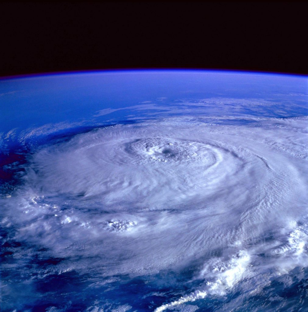 view of hurricane forming from space