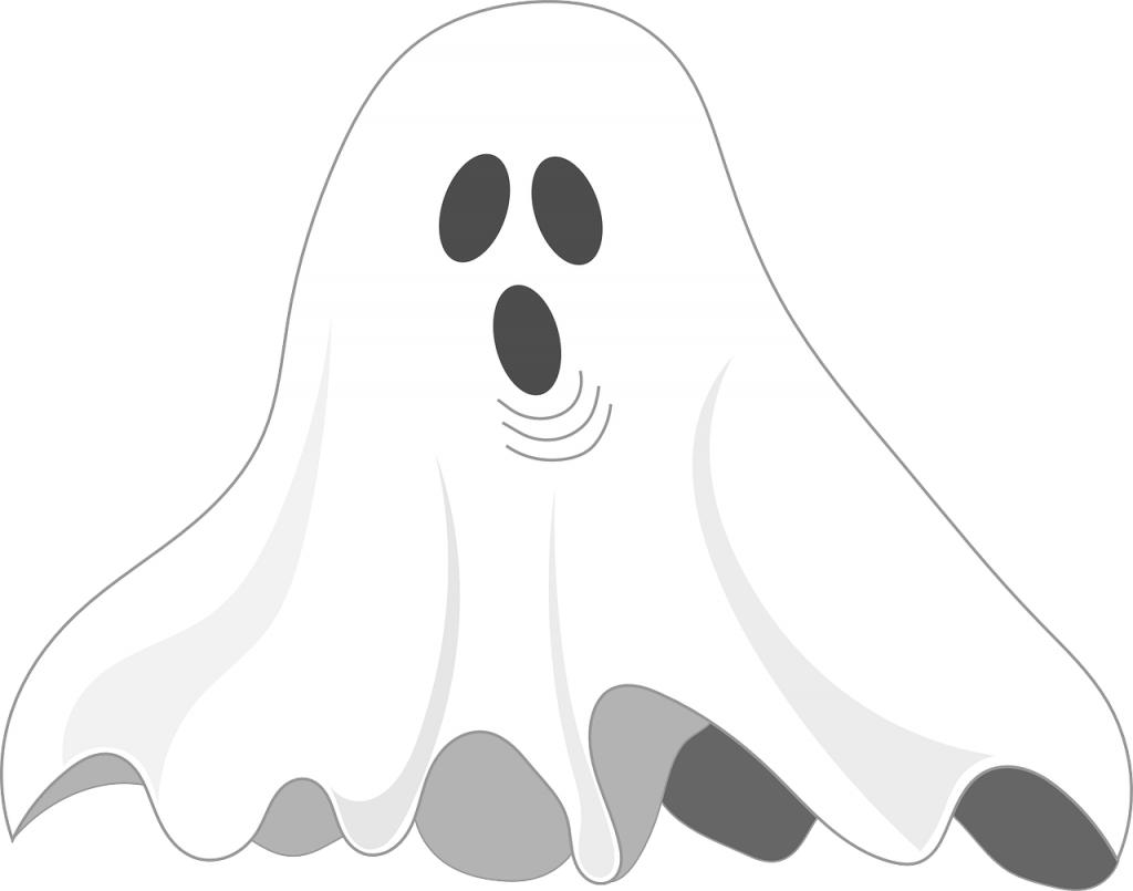 White ghost with black eye holes and black round mouth hole.