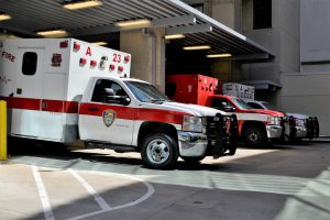 different emergency vehicles parked next to each other.