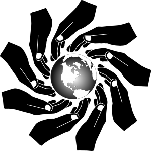 illustration of hands in the color black positioned around the earth