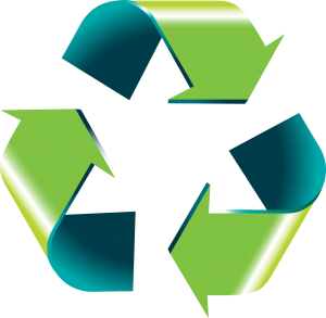 the recycle symbol with green and blue arrows