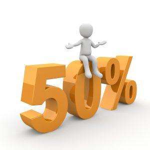 "cartoon figure sitting on top of ""50%"" numbers"