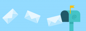 3 envelopes floating into a blue mailbox with a yellow flag up and email symbol on it.