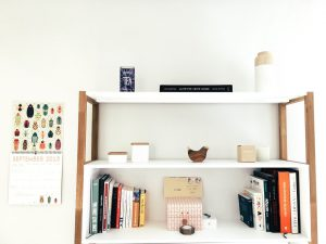 organized shelves in a home office setting.