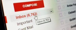 email inbox with a lot of mail in it.