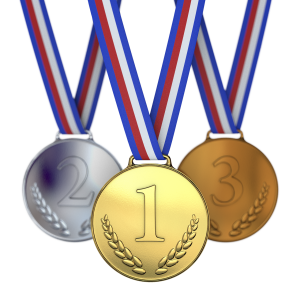 silver. bronze, and fold medals on lanyards