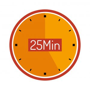 """yellow clock with the words """"25 Min"""" in the middle."""