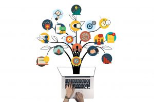 person at a laptop with a tree growing from the top with many pics on branches about marketing.