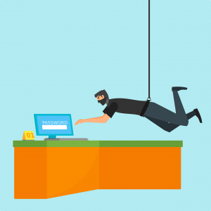 "cartoon of a man in all black hanging from a wire about to touch a laptop with the scree that says ""password"" on it."