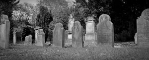black and white pic of tombstones