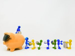 piggy bank with little characters carrying money and handing it off to the next until it reaches the piggy bank.
