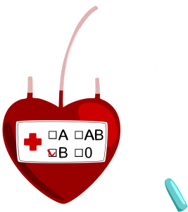 blood shaped blood bag with a connecting tube.