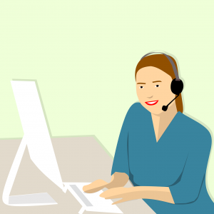 illustration of caucasian woman with blue shirt and head gear sitting in front of a white computer.