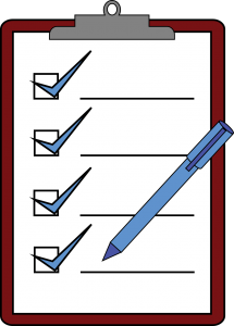 illustration of clipboard with a blue pen on it and blue check marks in all 4 boxes