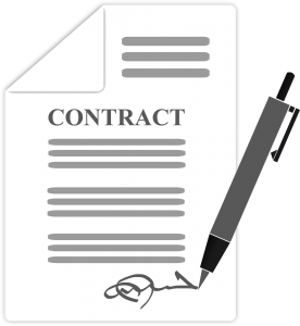 paper that says contract with a pen signing