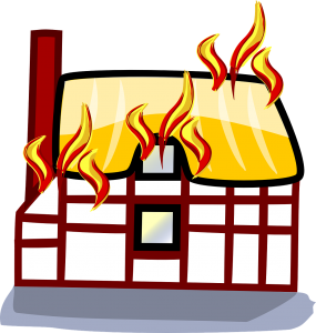 illustration of a house that is burning.