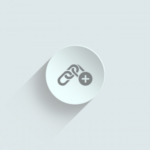 link building icon in white and gray