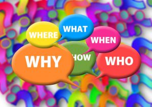 the 4 W's and how in colorful speech bubbles