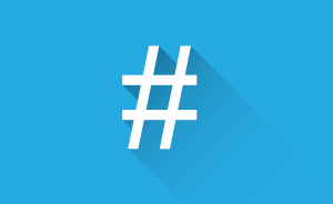 hashtag symbol in white with a baby blue background