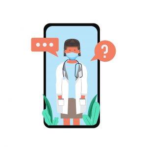 illustration of female doctor in white gown on cell phone with question bubble and typing bubbles.