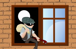 illustration of a thief with a mask leaving a house