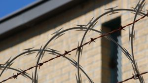 barbed razor wire over a building