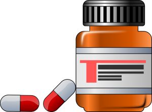 illustration of pill bottle with 2 bills beside it