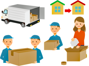 illustration of people moving with a truck and boxes and people carrying boxes.