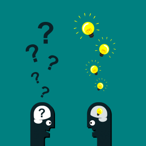 illustration of one person with question marks over his head facing another persons head with light bulbs above and in his head.