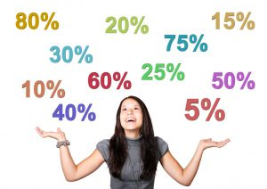 caucasian woman with her hands up looking up at different colored discount percentages