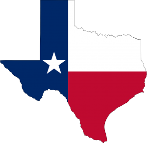 the state of texas shape with the flag colors on it