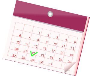 calendar with a green checkmark on a date