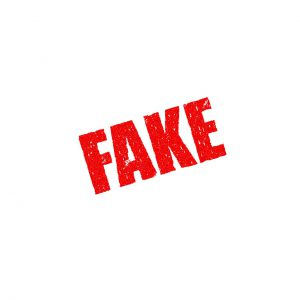 """the word """"Fake"""" in red."""