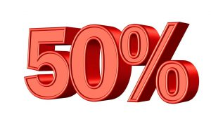 "red ""50%"" sign"
