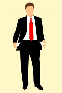 illustration of a businessman sticking his pockets out that are empty
