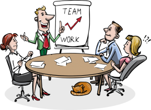 illustration of employees sitting at a round table with one standing with a chart of team work with red arrow going upward