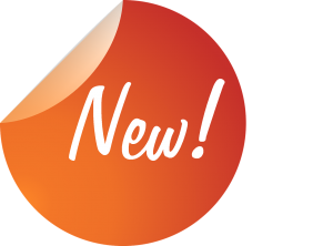 orange round sticker with the word new on it in white