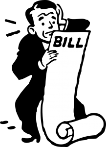 illustration in black and white of a man with a suit on in fear while looking at a paper with the word bill in his hand
