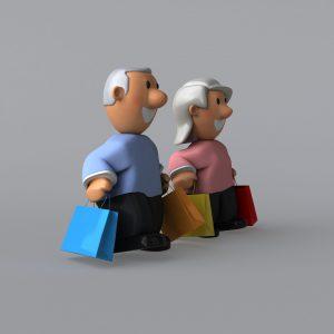 illustration of older couple holding shopping bags