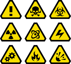 different yellow triangle hazard signs