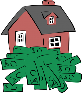 illustration of a red home with black roof and money in front of it by the ground