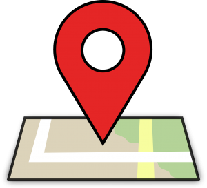 red location symbol placed over a map